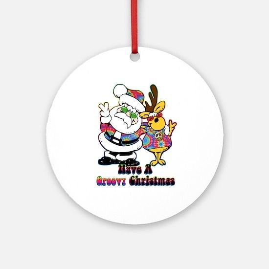 Groovy Christmas Ornament (Round)