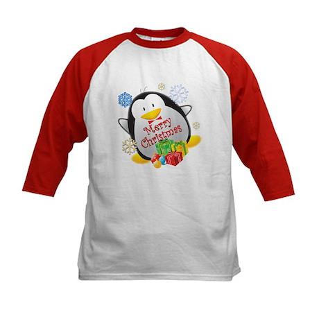 Penguin Christmas Kids Baseball Jersey