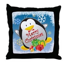 Penguin Christmas Throw Pillow