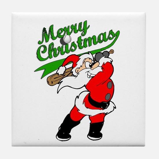 Baseball Christmas Tile Coaster