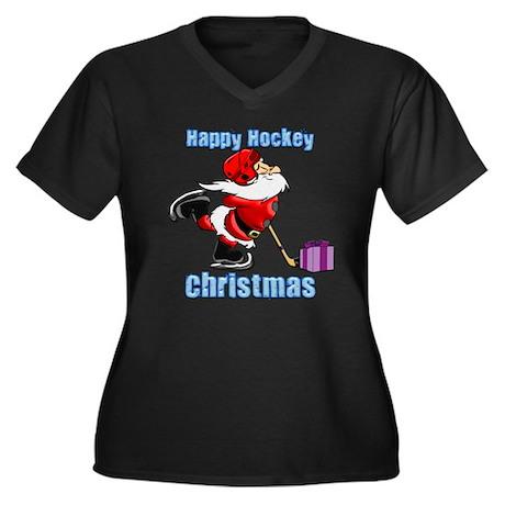 Hockey Christmas Women's Plus Size V-Neck Dark T-S