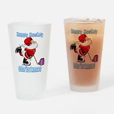 Hockey Christmas Drinking Glass