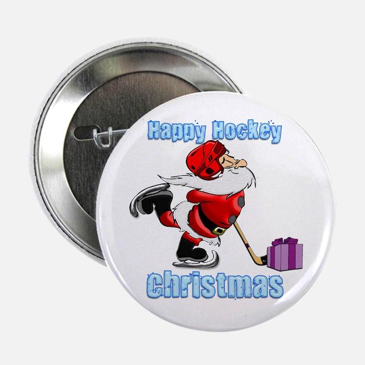 "Hockey Christmas 2.25"" Button"