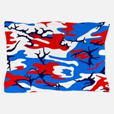 Red, White and Blue Camo Pillow Case