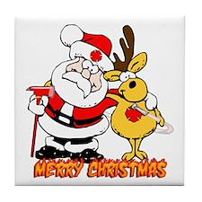 Fireman Christmas Tile Coaster
