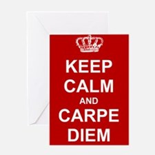 Keep Calm and Carpe Diem (red) Greeting Cards