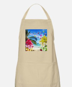Tropical Beach and Exotic Plumeria Flowers Apron