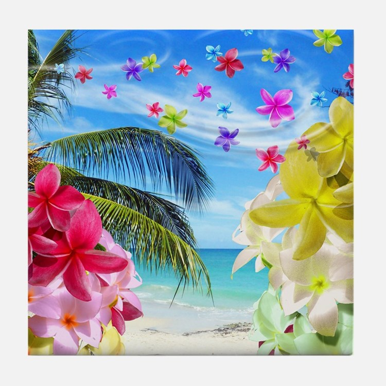 Tropical Beach and Exotic Plumeria Flowers Tile Co