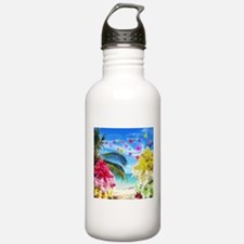 Tropical Beach and Exotic Plumeria Flowers Water B