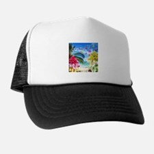 Tropical Beach and Exotic Plumeria Flowers Trucker Hat