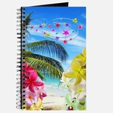 Tropical Beach and Exotic Plumeria Flowers Journal