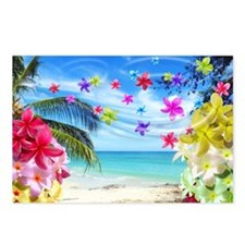 Tropical Beach and Exotic Plumeria Flowers Postcar