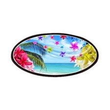 Tropical Beach and Exotic Plumeria Flowers Patches
