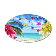 Tropical Beach and Exotic Plumeria Flowers Wall De