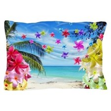 Tropical Beach and Exotic Plumeria Flowers Pillow