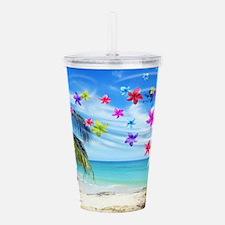 Tropical Beach and Exotic Plumeria Flowers Acrylic