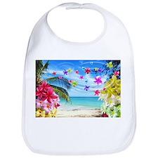 Tropical Beach and Exotic Plumeria Flowers Bib
