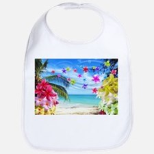 Tropical Beach and Exotic Plumeria Flowers Bib