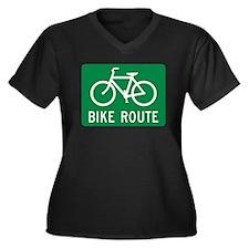 Bike Route Women's Plus Size V-Neck Dark T-Shirt