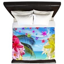 Tropical Beach and Exotic Plumeria Flowers King Du