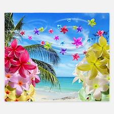 Tropical Beach and Exotic Plumeria Flowers King Du