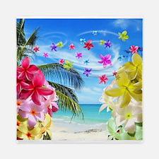 Tropical Beach and Exotic Plumeria Flowers Queen D