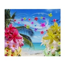 Tropical Beach and Exotic Plumeria Flowers Throw B