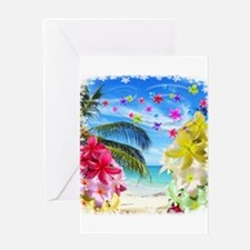 Tropical Beach and Exotic Plumeria Flowers Greetin