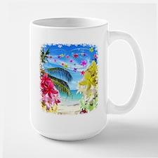 Tropical Beach and Exotic Plumeria Flowers Mugs