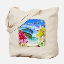 Tropical Beach and Exotic Plumeria Flowers Tote Ba