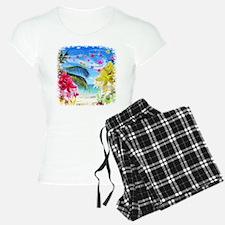 Tropical Beach and Exotic Plumeria Flowers Pajamas