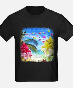 Tropical Beach and Exotic Plumeria Flowers T-Shirt