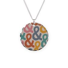 Colorful Ampersands Necklace Circle Charm