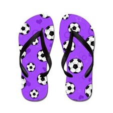 Cute Soccer Ball Print - Purple Flip Flops