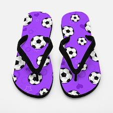 Cute Soccer Ball Print - Purple Flip Flops