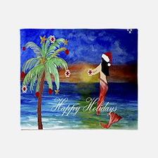 Santa Mermaid trim a tree art Throw Blanket