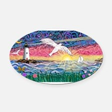 Lighthouse-Seagull Oval Car Magnet