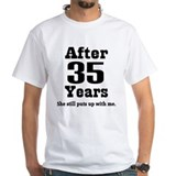 35th anniversary Mens White T-shirts