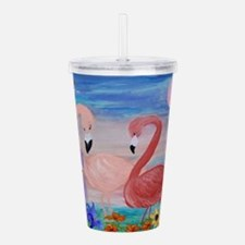 Flamingo paradise art Acrylic Double-wall Tumbler
