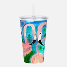 Flamingo party art Acrylic Double-wall Tumbler