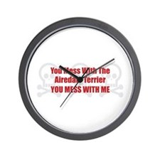 Mess With Airedale Wall Clock