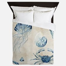 Indigo Ocean Sketchbook Jellyfish Crab Queen Duvet