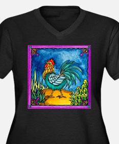 Funny Roosters Women's Plus Size V-Neck Dark T-Shirt
