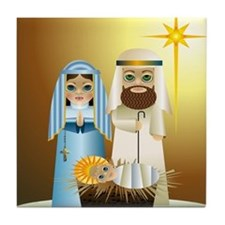 Mod, Big Eyed Christmas Nativity Tile Coaster