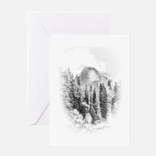 Half Dome Winter Portrait Greeting Cards
