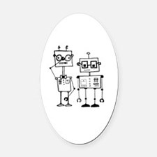 Geek Robots Oval Car Magnet