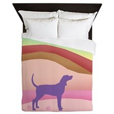 Pink Hills Coonhound (with purple houn Queen Duvet