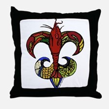 Boil Me Hot with Crawfish Fleur de Lis Throw Pillo