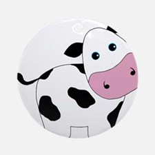 Cute Black and White Cow Ornament (Round)