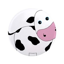 """Cute Black and White Cow 3.5"""" Button (100 pack)"""